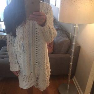 Cream Zara Knit Sweater Dress